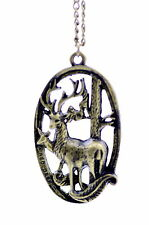 Vintage style bronze reindeer charm necklace cool gear