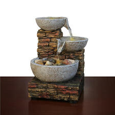Cascading Water Fountain Brick Stone Bowl Rocks LED Lights Table Desk Top Indoor