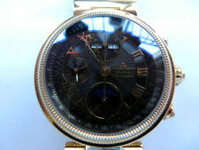 18K GP Swiss Jacques Lemans Moonphase Triple Date Chronograph Automatic Boxes