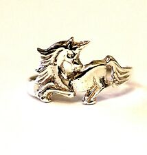 925 sterling silver womens unicorn ring 1.3g vintage ladies estate antique