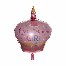 "32"" CAKE FOIL BALLOON PARTY  FIRST BIRTHDAY GIRL 1st BABY Decor"