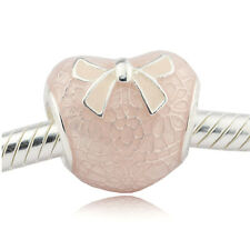 Authentic Pandora Bow and Lace Pink Heart Charm Bead 792044ENMX