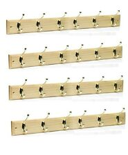 4X 6 Hook Pine Wooden Folding Double Hook Door Hanger Coat Rack Storage Screw On
