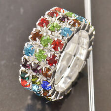 Fashion Rhinestone Multi Color Crystal White Gold Filled Womens Ring Size 7 lot