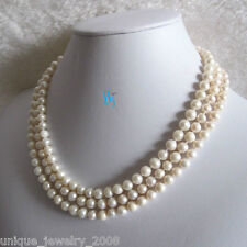 "52"" 5-7mm White Cultured Freshwater Pearl Necklace Off Round UJ"