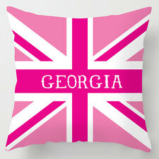 Childrens name personalised girls pink union jack decor cushion