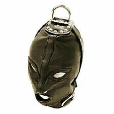 PU Leather Eyes & Mouth Open Restraint Gimp Mask Hood W/ Rope Attachment