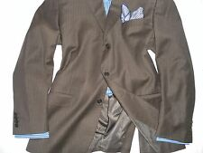 BASILI Men's Chocolate Brown Notch Lapel Three Button Wool Suit 48L 39WX34