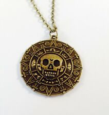 Pirates of the Caribbean GOLD SKULL COIN TREASURE Pendant Necklace Fancy Dress
