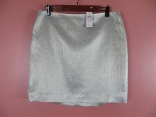 SK07043- NWT ANN TAYLOR Woman Silk Pencil Skirt Shimmer Silver Gold Gray 12P $98