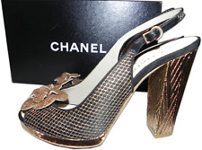 CHANEL Black Gold Lace Camelia Slingback Heel Sandals Pump Shoe 38/  7-7.5