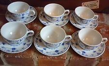 Masons 'Denmark' Blue & White Cups + Saucers X 6