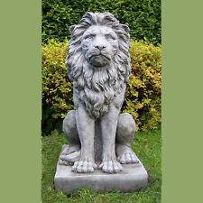 LARGE PROUD LION STATUE Cast Stone Garden Ornament Patio Home Decor ⧫onefold-uk