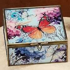 Red Butterfly Metal Frame, Glass Square Necklace Bracelet Jewelry Box