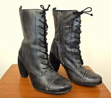 ALL SAINTS Black/Grey Distressed Leather Military Style Heels Boots Size 37 UK 4