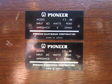 PIONEER CS-88 REPLACEMENT PARTS BADGE/PLATE EXCELLENT CONDITION