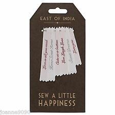 EAST OF INDIA 6 X WOVEN RIBBON SEW IN LABELS SEWING DIY RETRO HANDMADE LOVE GIFT