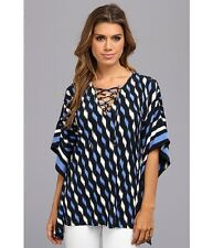 MICHAEL KORS BLUE/BLACK Lace-Up V Neck Border Print Tunic ( MEDIUM ) NWT $120