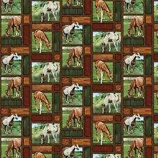 Wild Wings Valley Crest Horse Allover Patches 100% cotton fabric by the yard
