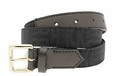 "Dirk Bikkembergs 85 Unisex Leather Belt Single Hole Black Waist 32""-36"""