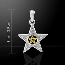 PENTACLE Pendant .925 Sterling Silver Gold vermeil Two tone PENTAGRAM amulet