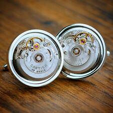 Cartier Watch Movement Cufflinks Steampunk Vintage Wedding Groom