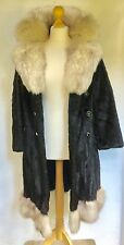 BLACK MINK FUR COAT WITH SIVER ARCTIC FOX FUR COLLAR & TRIM REAL MINK New Lining