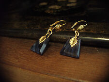 Vintage Deco Montana Blue Quartz Drop Hook Earrings with Gold Leaves.