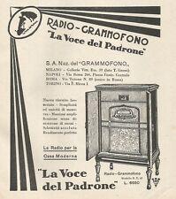 W1545 Radio-Grammofono La Voce del Padrone  - Pubblicità del 1930 - Vintage ad