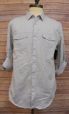 INC MENS ROLL TAB UP LONG SLEEVE BUTTON UP SHIRT GREY GRAY SILVER ACCENT L CH105