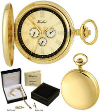 Woodford Hunter Pocket Watch, 3-Dial Day/Date, Quartz, GP, Free Engraving (1244)