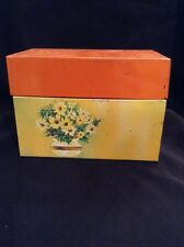 Vintage Recipe Box Ohio Art Co Tin Metal Yellow Flower Motif