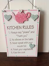 NEW KITCHEN RULES WOODEN WALL PLAQUE HANGING SIGN TEAPOT HEART DECOR