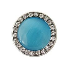BLUE CATS EYE SNAP Button Charm 18mm Interchangeable Jewelry Fits Ginger Snaps
