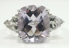 Sterling Silver Lavender Cubic Zirconia Ring Round Oval Trillion Cut Size 9