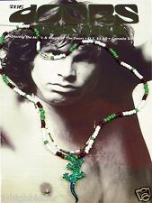 "21"" Jim Morrison Lizard King Handmade Bead Necklace Orig Green White The Doors"