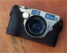 Leather Contax G2 Black with Red Stitching Half Case - BRAND NEW