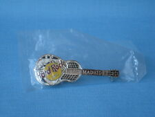 Hard Rock Cafe HRC Madrid Guitar Metal Badge Pin 60mm Silver and Black