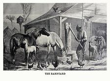 BARNYARD ANIMALS BLACK MAN PUMPING WATER FOR HORSE CATTLE BIRD FEEDER 1868 PRINT