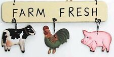 "5 X 2.5"" COW PIG ROOSTER Cabin Lodge Sign Primitive Country Farm Ornament Sign"