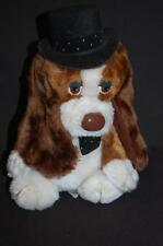 """Russ On The Town Brown White Puppy DOG Top Hat Bow Tie Vtg Plush Stuffed Toy 10"""""""