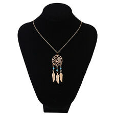 Women Vintage Long Necklace Feather Natural alloy Pendant  Fashion Jewelry CY18