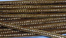 ATTRACTIVE  GOLD SLIM LACE TRIM EMBROIDERED WITH GOLD BEADS - SOLD by YARD