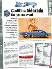 Cadillac Eldorado 1967  USA  Car Auto FICHE FRANCE