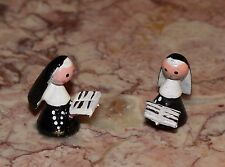 Vtg Doll House Miniature Hand Painted Wooden Nun  Figure Hong Kong Lot