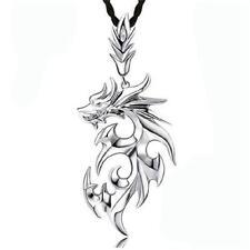 Silver Fashion Titanium Steel Dragon Pendant Men's Necklace With Leather Chain