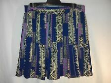Ladies Skirt in Navy Blue and Magenta Geometric Pattern Size 12