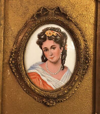"""Antique Limoges CAMEO Victorian Lady """"Woman in Red"""" Portrait Hand Painted Framed"""