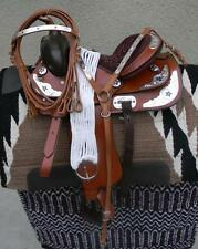 "13"" New Tan STAR All Leather Western Pleasure Show Trail Saddle Package  See"
