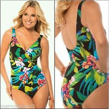 NWT-$146 MIRACLESUIT SWIMWEAR 16 'OCEANUS' ONE-PIECE FLORAL SURPLICE RUCHED